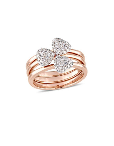 Concerto 0.17 TCW Diamond Heart Three-Piece Stacking Ring Set in 14K Rose Gold-WHITE-6