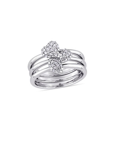 Concerto 0.17 TCW Diamond Heart Three-Piece Stackable Ring Set in 14K White Gold-WHITE-6