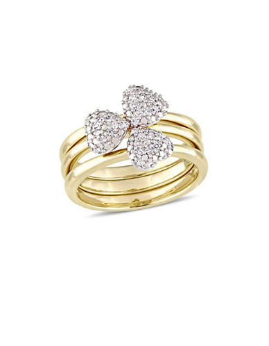 Concerto 0.17 TCW Diamond Heart Three-Piece Stacking Ring Set in 14K Yellow Gold-WHITE-6