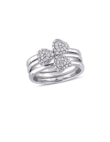 Concerto 0.17 TCW Diamond Heart Three-Piece Stacking Ring Set in 14K White Gold-WHITE-7