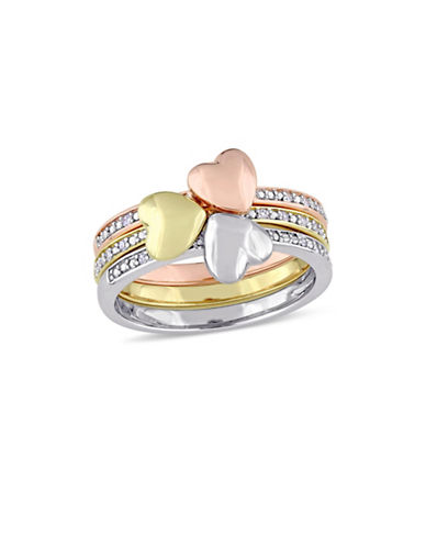 Concerto 0.1 TCW Diamond Heart Motif Three-Piece Stacking Ring Set in 14K Tri-Colour Gold-WHITE-8