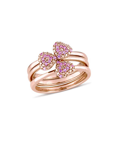 Concerto Pink Sapphire Heart Three-Piece Stacking Ring Set in 14K Rose Gold-PINK-7