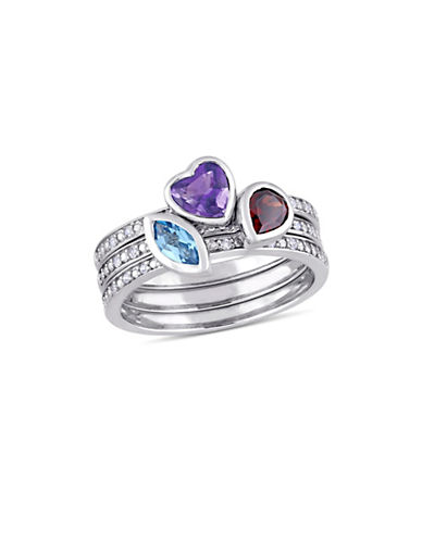 Concerto Multi-Gemstone and 0.1 TCW Diamond Heart Three-Piece Stacking Ring Set in 14K White Gold-MULTI-7
