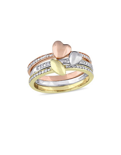 Concerto 0.1 TCW Diamond Heart Motif Three-Piece Stacking Ring Set in 14K Tri-Colour Gold-TRI-TONE-7