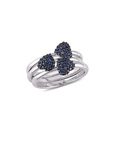 Concerto Blue Sapphire Heart Three-Piece Stacking Ring Set in 14K White Gold-BLUE-6
