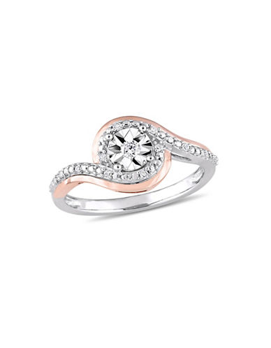 Concerto 10K White and Rose Gold Halo Ring with 0.1 TCW Diamonds-WHITE-5
