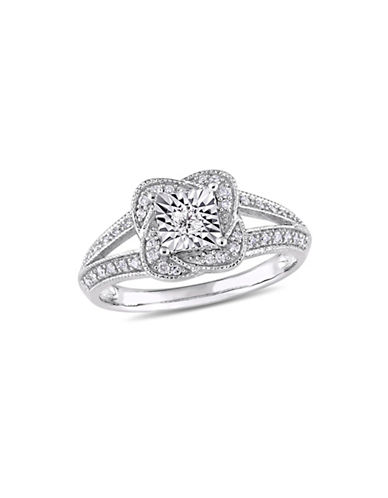 Concerto 10K White Gold and 0.2 TCW Diamond Floral Ring-WHITE-9