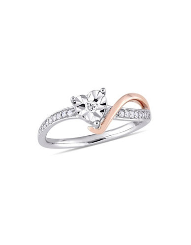 Concerto 10K White and Rose Gold Heart Ring with 0.1 TCW Diamonds-WHITE-9