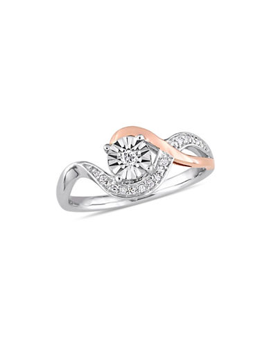 Concerto 10K White and Rose Gold Swirl Ring with 0.1 TCW Diamonds-WHITE-5