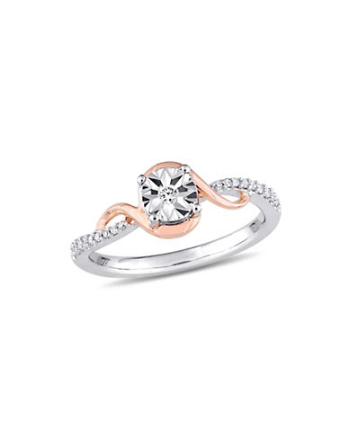 Concerto 10K White and Rose Gold Swirl Ring with 0.1 TCW Diamonds-WHITE-9