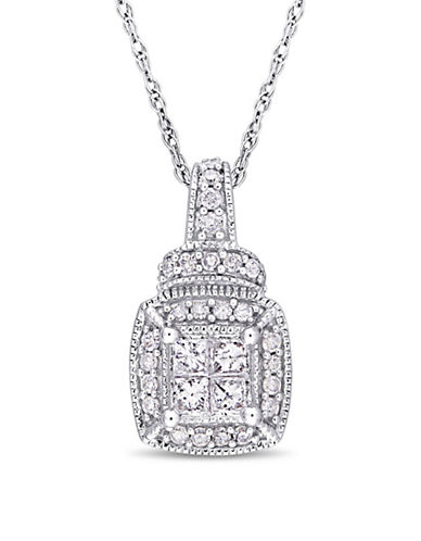 Concerto 10K White Gold Halo Pendant Necklace with 0.33 TCW Diamonds-WHITE-One Size