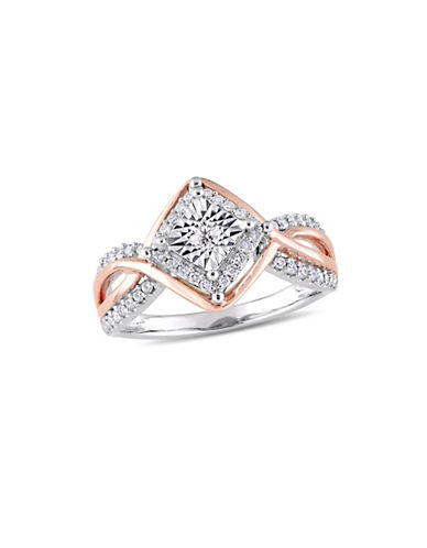 Concerto 10K White and Rose Gold and 0.25 TCW Diamond Halo Ring-WHITE-5