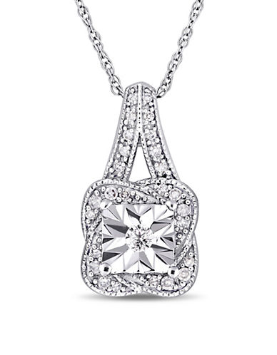 Concerto 10K White Gold Halo Pendant Necklace with 0.14 TCW Diamonds-WHITE-One Size
