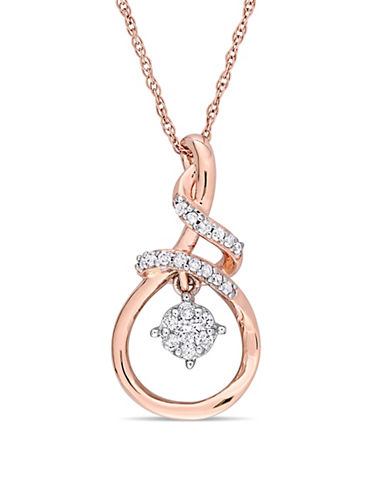 Concerto 10K White and Rose Gold Pendant Necklace with 0.16 TCW Diamonds-WHITE-One Size