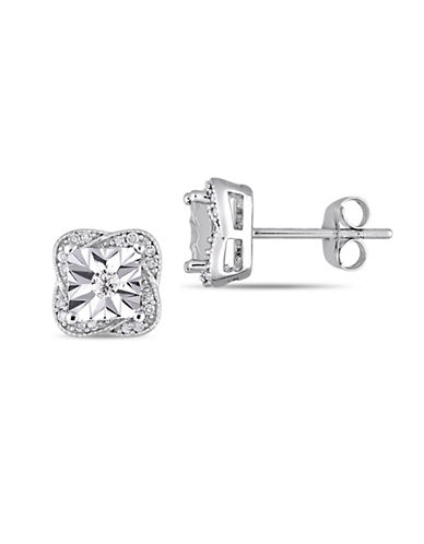 Concerto 10K White Gold Stud Earrings with 0.2 TCW Diamonds-WHITE-One Size
