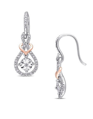 Concerto 10K White and Rose Gold Drop Earrings with 0.2 TCW Diamonds-WHITE-One Size
