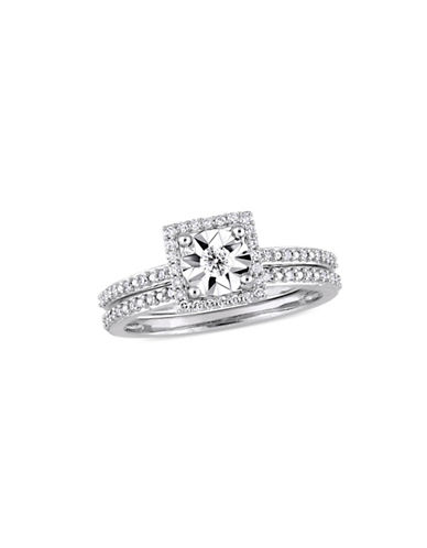 Concerto 10K White Gold and 0.25 TCW Diamond Halo Bridal Ring-WHITE-9