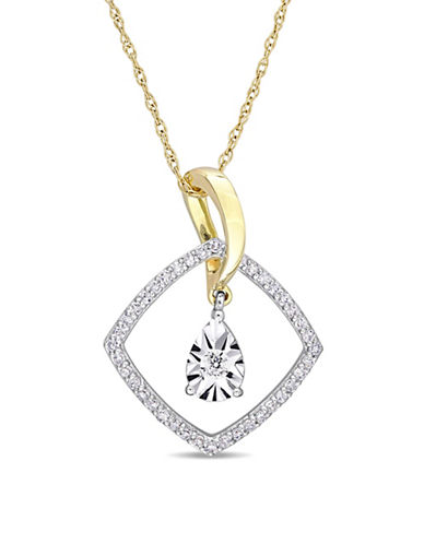 Concerto 10K White and Yellow Gold Pendant Necklace with 0.25 TCW Diamonds-WHITE-One Size