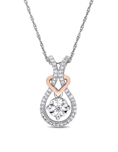 Concerto 10K White and Rose Gold Heart Pendant Necklace with 0.2 TCW Diamonds-WHITE-One Size