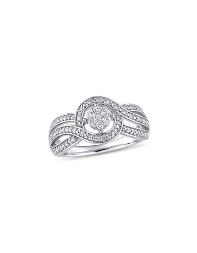 Concerto 10K White Gold and 0.25 TCW Diamond Halo Ring-WHITE-9