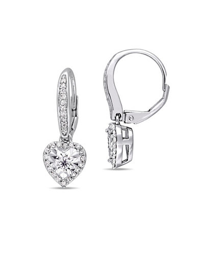Concerto Sterling Silver and 0.54 TCW Diamond Heart Earrings-WHITE-One Size