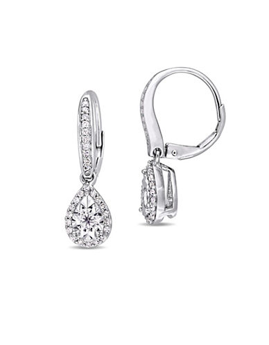 Concerto Sterling Silver and 0.54 TCW Diamond Halo Earrings-WHITE-One Size