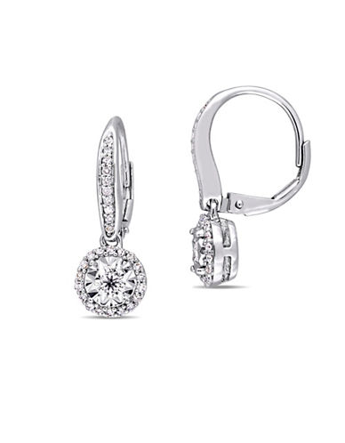 Concerto Sterling Silver and 0.5 TCW Diamond Halo Earrings-WHITE-One Size