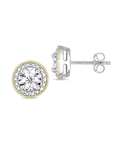 Concerto Sterling Silver and 0.1 TCW Diamond Stud Earrings-WHITE-One Size