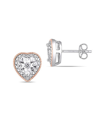 Concerto Sterling Silver and 0.1 TCW Diamond Heart Earrings-WHITE-One Size