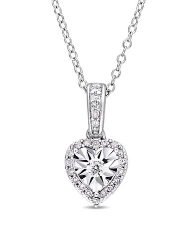 Concerto Sterling Silver and 0.16 TCW Diamond Heart Pendant Necklace-WHITE-One Size