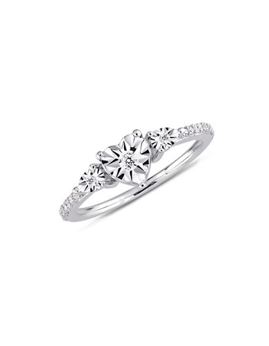 Concerto Sterling Silver and 0.14 TCW Diamond Heart Ring-WHITE-9