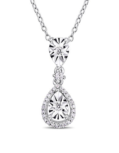 Concerto Sterling Silver and 0.2 TCW Diamond Halo Pendant Necklace-WHITE-One Size