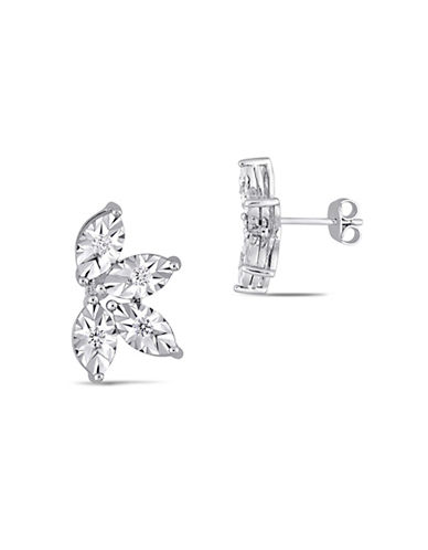 Concerto Sterling Silver and 0.25 TCW Diamond Stud Earrings-WHITE-One Size