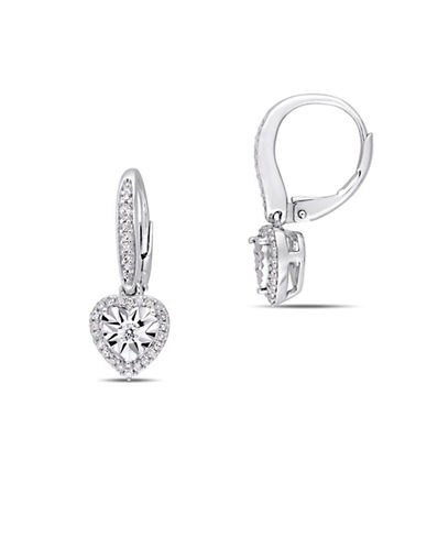 Concerto Sterling Silver and 0.33 TCW Diamond Heart Earrings-WHITE-One Size