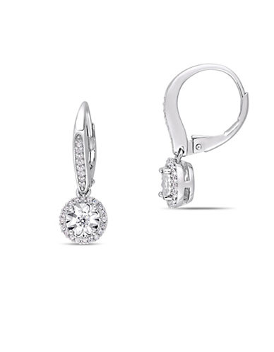 Concerto Sterling Silver and 0.33 TCW Diamond Halo Earrings-WHITE-One Size