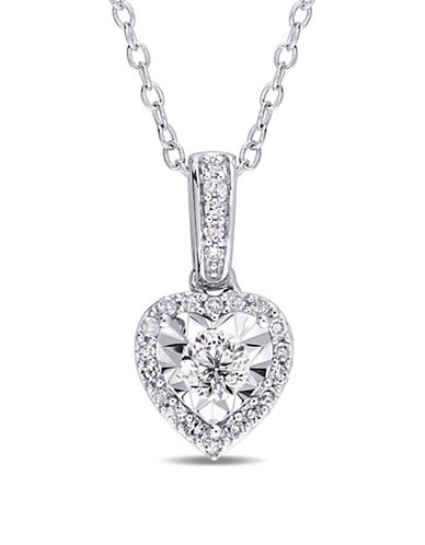 Concerto Sterling Silver and 0.25 TCW Diamond Heart Pendant Necklace-WHITE-One Size