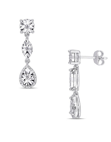 Concerto Sterling Silver and 0.25 TCW Diamond Drop Earrings-WHITE-One Size