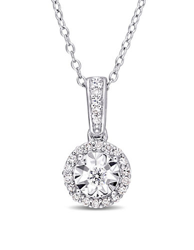 Concerto Sterling Silver and 0.16 TCW Diamond Halo Pendant Necklace-WHITE-One Size