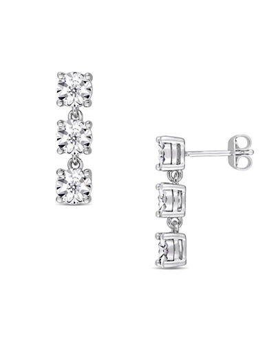 Concerto Sterling Silver and 0.16 TCW Diamond Triple Drop Earrings-WHITE-One Size