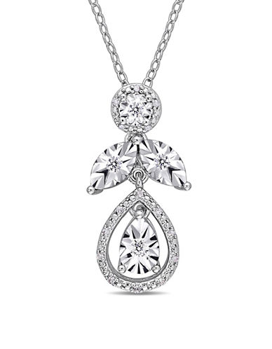 Concerto Sterling Silver and 0.14 TCW Diamond Floral Pendant Necklace-WHITE-One Size