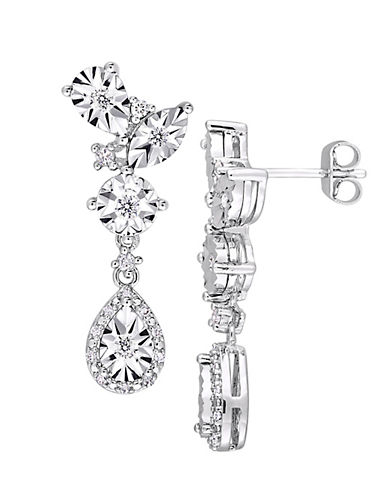 Concerto Sterling Silver and 0.33 TCW Diamond Drop Earrings-WHITE-One Size