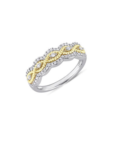 Concerto 10K White and Yellow Gold and 0.25 TCW Diamond Floral Ring-WHITE-8