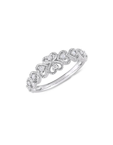 Concerto 10K White Gold and 0.16 TCW Diamond Heart Ring-WHITE-9