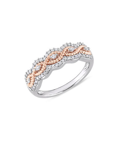 Concerto 10K White and Rose Gold and 0.25 TCW Diamond Floral Ring-WHITE-6