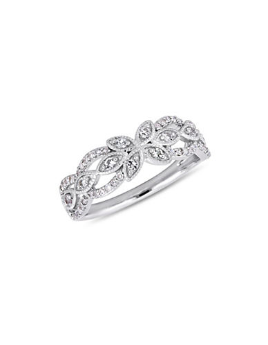 Concerto 10K White Gold, White Sapphire and 0.16 TCW Diamond Ring-WHITE-9