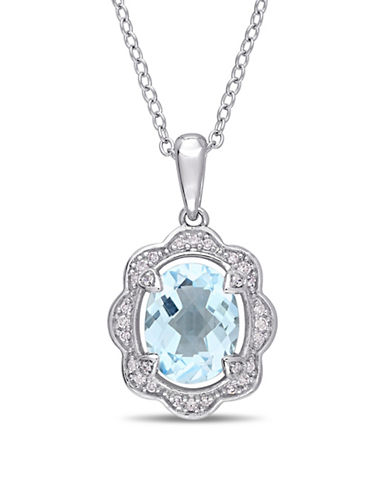 Concerto Sterling Silver Blue Topaz Pendant Necklace with 0.1 TCW Diamonds-BLUE-One Size