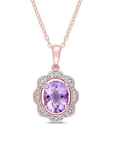 Concerto Sterling Silver Amethyst Pendant Necklace with 0.1 TCW Diamonds-PURPLE-One Size