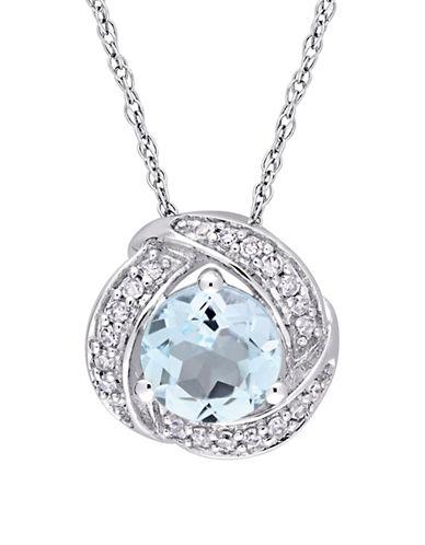 Concerto 0.01 TCW Diamond Blue Topaz and 10K White Gold Swirl Halo Necklace-BLUE-One Size