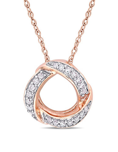 Concerto 10K Rose Gold Necklace with 0.1 TCW Diamonds-WHITE-One Size