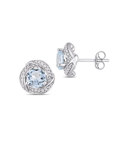 Concerto 10K White Gold Blue Topaz Stud Earrings with 0.2 TCW Diamonds-BLUE-One Size